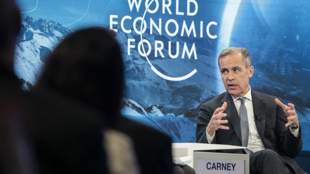 Mark Carney speaks during a panel session in Davos on Jan. 24.