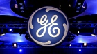 The logo of the General Electric Co. is displayed at the company's 2010 annual meeting in Houston, Texas, U.S.