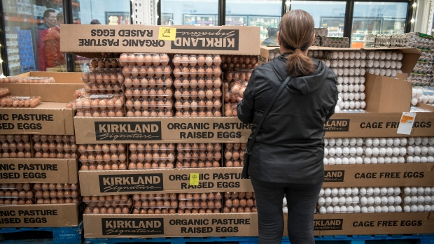 A customer browses eggs for sale at a Costco Wholesale Corp. store in San Francisco, California
