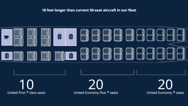 Plans for United Air's expanded CRJ550 cabin