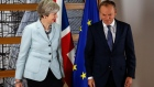 Theresa May, U.K. prime minister, left, and Donald Tusk, president of the European Union (EU).