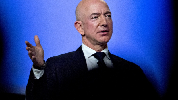 Jeff Bezos, founder and chief executive officer of Amazon.com Inc., speaks during a discussion at the Air Force Association's Air, Space and Cyber Conference in National Harbor, Maryland, U.S., on Wednesday, Sept. 19, 2018.