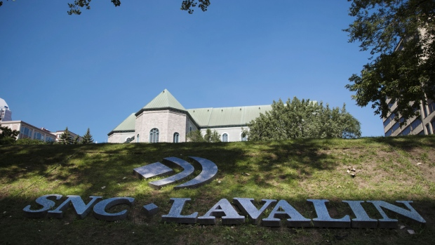 SNC-Lavalin Group Inc. signage is displayed in Montreal.