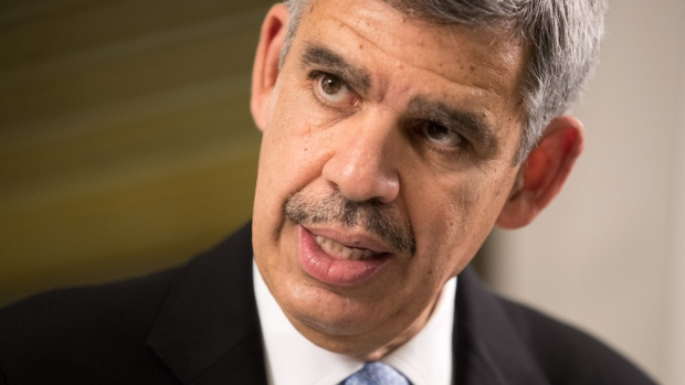 "Mohamed El-Erian, former chief executive officer of Pacific Investment Management Co. (PIMCO), speaks during an interview at the Barclays Asia Forum in Singapore, on Thursday, Oct. 20, 2016. El-Erian said he is less bullish on publicly traded securities such as stocks and bonds because global central banks have pushed their prices to ""distorted"" levels. Photographer: Nicky Loh/Bloomberg"