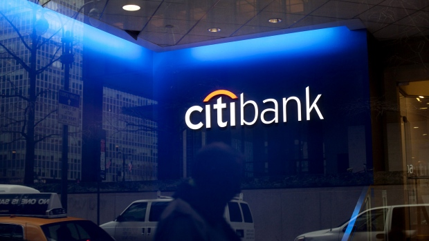 A man walks past Citigroup Inc. offices in New York.