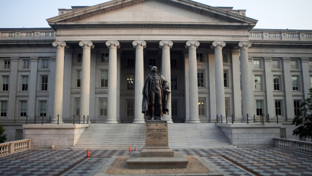 A statue of Albert Gallatin stands outside the U.S. Department of the Treasury building stands in Washington, D.C., U.S.
