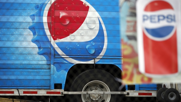 Signage is seen on the side of a delivery truck outside the Pepsi Beverages Co. plant in Louisville, Kentucky, U.S., on Sunday, Feb. 11, 2018. PepsiCo Inc. is scheduled to release earnings figures on February 13.