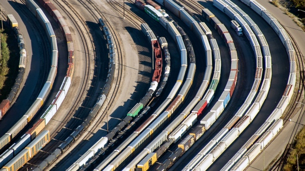 Freight trains and oil tankers sit in a rail yard in this aerial photograph taken above Toronto, Ontario, Canada, on Monday, Oct. 2, 2017.