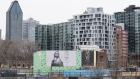 A condominium building sits under construction in the Griffintown neighborhood of Montreal, Quebec.