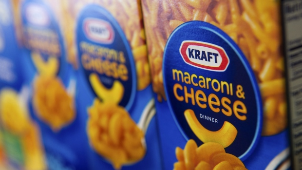 Boxes of Kraft Foods Group Inc. macaroni & cheese are displayed for a photograph in Fog Hill Market in San Francisco, California, U.S., on Tuesday, Feb. 5, 2013.