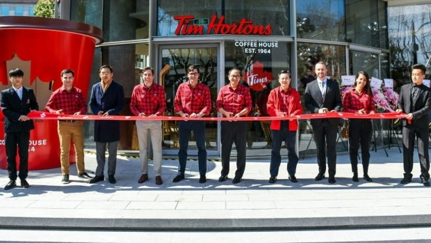 The line is RIDICULOUS for China's first-ever Tim Hortons