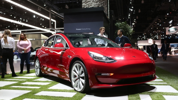 The Tesla Inc. Model 3 is displayed during AutoMobility LA ahead of the Los Angeles Auto Show in Los Angeles, California, U.S.