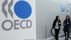 The Organisation of Economic Cooperation and Development (OECD) logo is seen at the company's headquarters in Paris, France.