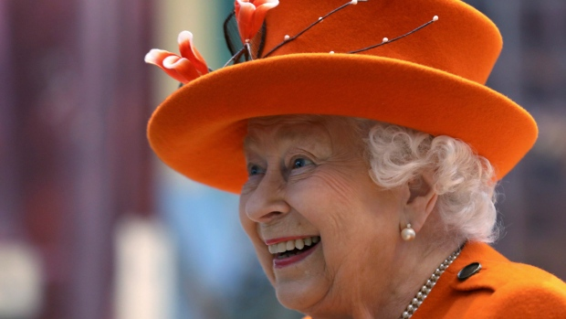 Britain's Queen Elizabeth II reacts during a visit to the Science Museum in London, Thursday March 7