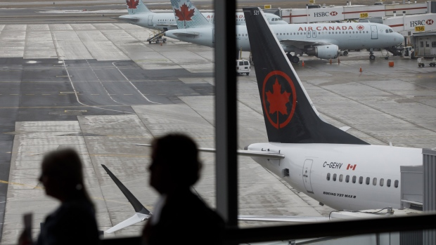 Air Canada Boeing 737 MAX 8 jet tail is seen on the tarmac at Toronto Pearson International Airport on March 13, 2019 in Toronto, Canada. U.S. President Donald Trump announced today that all 737 MAX 8 jets would be suspended from use following the recent crashes in Indonesia and Ethiopia. Several other countries, including Canada, China, and Australia have announced that they would also be grounding the jets.