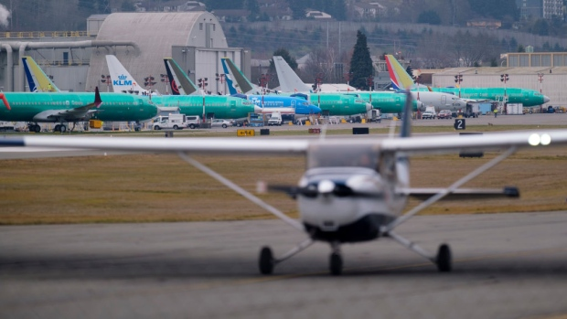 RENTON, WA - MARCH 14: Boeing 737 airplanes, including some 737 MAX models, are pictured in the distance at Renton Municipal Airport outside of the company's factory, on March 14, 2019 in Renton, Washington. The 737 MAX, Boeing's newest model, has been been grounded by aviation authorities throughout the world after the crash of an Ethiopian Airlines 737 MAX 8 on March 10. (Photo by Stephen Brashear/Getty Images)