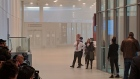 Smoke is shown inside the security screening area of Terminal 1 at Pearson International Airport.