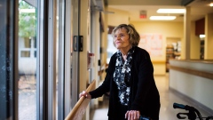 Devora Greenspon stands for a photo at her nursing home Extendicare Bayview in Toronto