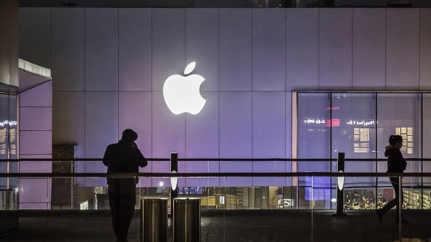 The Apple Inc. logo is displayed at the Upper West Side Apple store in New York, U.S.
