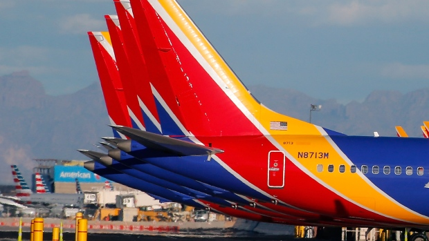 Southwest Airlines' Boeing 737 MAX 8 jets at Phoenix Sky Harbor International Airport.