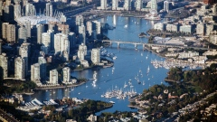 Boats are seen anchored at False Creek in this aerial photograph taken above Vancouver, British Columbia, Canada, on Thursday, Sept. 6, 2018.