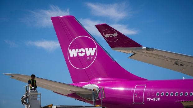 WOW air aircraft, an Icelandic low-cost carrier, is parked outside Airbus charlet during the 52nd International Paris Air Show at the Le Bourget Airport on June 21, 2017, in Paris, France.