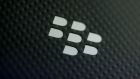 The Blackberry Ltd. logo sits on the rear of the company's Keyone smartphone, during its launch event ahead of the Mobile World Congress (MWC) in Barcelona, Spain, on Saturday, Feb. 25, 2017.