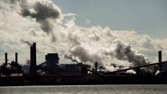 The steel mills in the Hamilton waterfront harbour are shown in Hamilton, Ont., on Tuesday, October