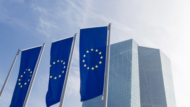 European Union (EU) flags fly outside the new headquarters of the European Central Bank (ECB) in Frankfurt, Germany, on Friday, Feb. 13, 2015.
