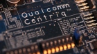 Qualcomm Centriq branding sits on a motherboard on display at the Qualcomm Inc. stand during day two of the Mobile World Congress (MWC) in Barcelona, Spain, on Tuesday, Feb. 27, 2018. At the wireless industry's biggest conference, more than 100,000 people are set to see the latest smartphones, artificial intelligence devices and autonomous drones exhibited by roughly 2,300 companies.