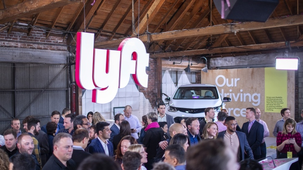 Signage is displayed during the Lyft Inc. initial public offering (IPO) at the company's new service center in Los Angeles, California, U.S.