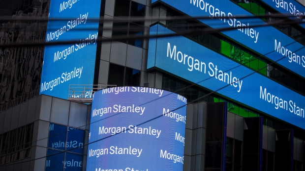 Signage is displayed outside Morgan Stanley & Co. headquarters in the Times Square neighborhood of New York, U.S., on Monday, Dec. 17, 2018