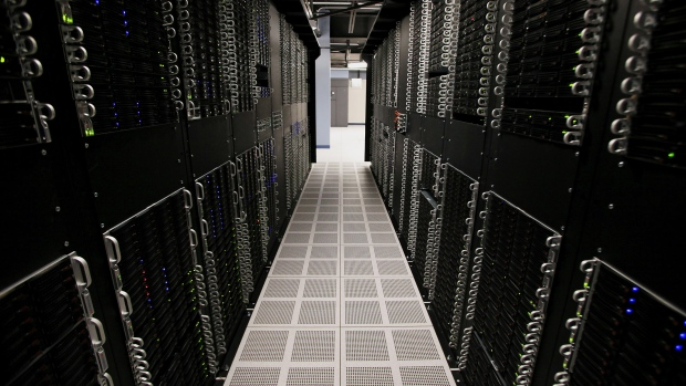 Servers and hard drives stand inside pod one of International Business Machines Corp.'s (IBM) Softlayer data center in Dallas.