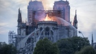 Flames and smoke rise from a fire at Notre-Dame Cathedral in Paris, France, on Monday, April 15, 201