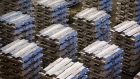 Aluminum ingots sit in a warehouse storage facility at the Krasnoyarsk aluminum smelter, operated by United Co. Rusal, in Krasnoyarsk, Russia, on Monday, Sept. 3, 2018. The season for aluminum producers and buyers to hash out U.S. sales contracts has started much earlier than usual this year thanks largely to uncertainties over sanctions on United Co. Rusal.