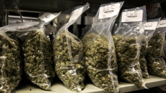 Packages of marijuana are seen on shelf before shipment at the Canopy Growth Corp. facility in Smith Falls, Ontario, Canada.