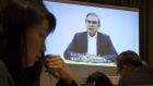 TOKYO, JAPAN - APRIL 09: A video interview with Nissan Motor Co.'s former chairman Carlos Ghosn is displayed on a screen during a press conference at the Foreign Correspondents' Club of Japan (FCCJ) on April 9, 2019 in Tokyo, Japan. Ghosn, a veteran of the auto industry, was re-arrested in Tokyo last week on fresh allegations of financial misconduct as shareholders of Nissan voted on Monday to remove the company's former boss from its board. (Photo by Tomohiro Ohsumi/Getty Images)