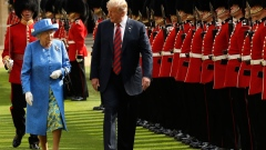 Donald Trump and Queen Elizabeth II at Windsor Castle on July 13, 2018. Photographer: Matt Dunham/WPA Pool/Getty Images