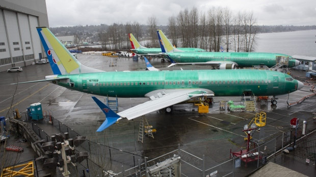 A 737 Max 8 plane destined for China Southern Airlines sits at the Boeing Co. manufacturing facility in Renton, Washington, U.S., on Tuesday, Mar. 12, 2019.