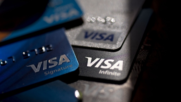 Visa Inc. credit and debit cards are arranged for a photograph in Washington, D.C., U.S., on Monday, April 22, 2019. Visa Inc. is scheduled to release earnings figures on April 24.