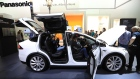 Tesla Co. Model X electric automobile fitted with Panasonic batteries