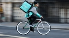 A food delivery cycle courier for Deliveroo.
