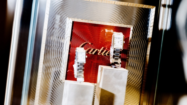 Cartier, a unit of Cie. Richemont SA, luxury watches sit on display at a Borsheim Jewelry Company Inc. store during an event on the sidelines of the Berkshire Hathaway Inc. annual shareholders meeting in Omaha, Nebraska, U.S., on Sunday, May 5, 2019.