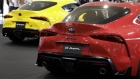 Toyota Motor Corp. GR Supra vehicles stand on display during a launch event at the Mega Web Toyota City Showcase showroom in Tokyo, Japan, on Friday, May 17, 2019. The fifth-generation Supra ends the 17-year hiatus since the end of the production of the previous generation, according to the company.