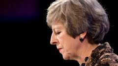 British Prime Minister Theresa May speaks during the 2018 CBI Conference on November 19, 2018 in London, England. Theresa May defended her draft Brexit agreement before the audience of business leaders, asserting that the deal will restore UK control over its money, laws, and borders