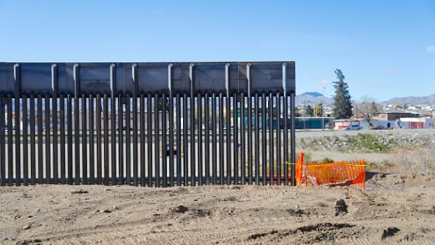 An incomplete section of border fencing as seen from the Texas side during Acting Secretary of Defense Patrick Shanahan's tour of the US-Mexico border February 23, 2019 in El Paso, Texas. Shanahan will visit troops on the border and sites where the Department of Homeland Security has requested Pentagon assistance to combat drug smuggling.