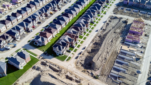Homes under construction are seen in this aerial photograph taken above Brampton, Ontario, Canada, on Saturday, Sept. 9, 2017.