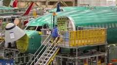 A Boeing Co. 737 Max airplane sits on the production line at the company's manufacturing facility in Renton, Washington.