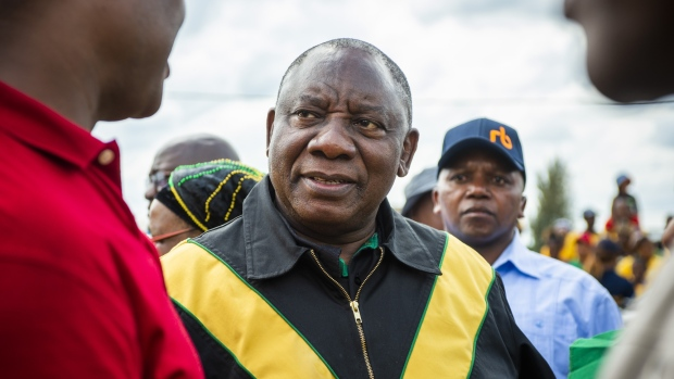Cyril Ramaphosa, South Africa's president, attends an African National Congress party (ANC) campaign event in Bloemfontein, South Africa, on Sunday, April 7, 2019. The ANC is expected to easily maintain its monopoly on power in the May 8 national elections, albeit with a slightly reduced majority. Photographer: Waldo Swiegers/Bloomberg