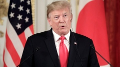 U.S. President Donald Trump, speaks during a news conference with Japan's Prime Minister Shinzo Abe